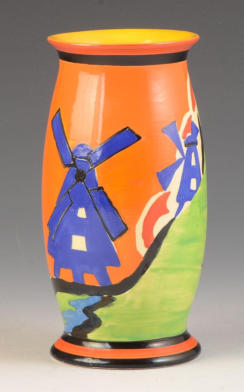 Clarice Cliff Applique Windmill 265 Vase C 1930